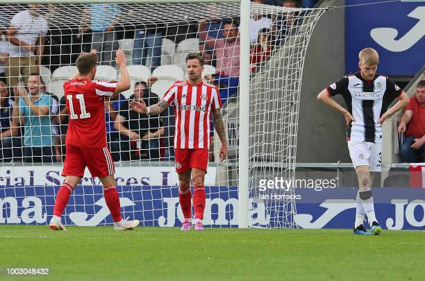 Lynden Gooch of Sunderland celebrates with Chris Maguire after Gooch scored the third goal from the penalty spot during a preseason friendly between...