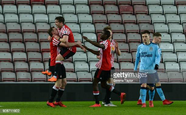Lynden Gooch of Sunderland celebrates with teammates after he scores Sunderlands second goal during the Premier League International Cup between...