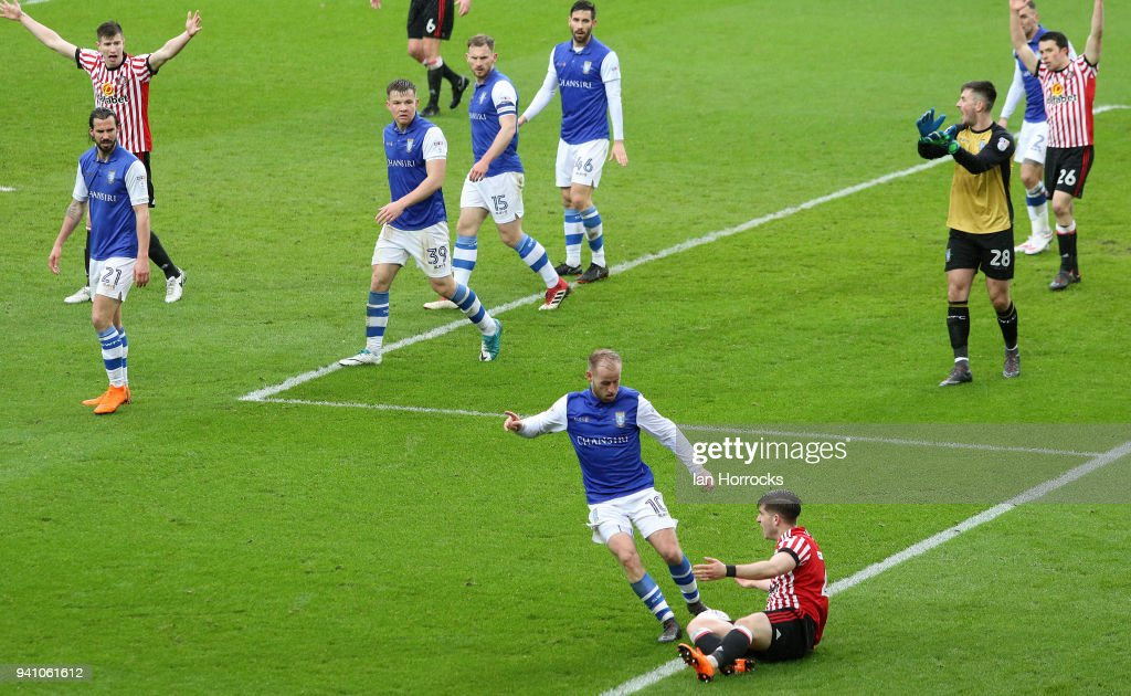 Lynden Gooch of Sunderland goes down asking for a penalty during the Sky Bet Championship match between Sunderland AFC and Sheffield Wednesday FC at Stadium of Light on April 2, 2018 in Sunderland, England.