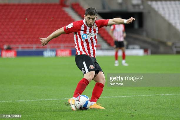 Lynden Gooch of Sunderland has a shot during the Sky Bet League 1 match between Sunderland and Portsmouth at the Stadium Of Light Sunderland on...