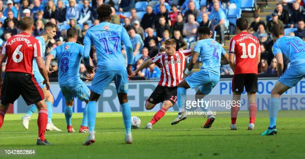 Lynden Gooch of Sunderland has a shot during the Sky Bet League One match between Coventry City and Sunderland at The Ricoh Arena on September 29,...