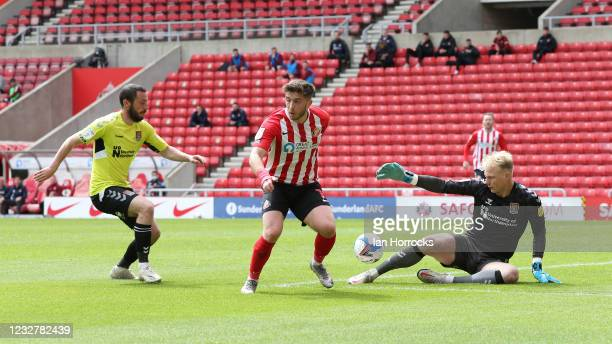 Lynden Gooch of Sunderland has his shot saved by Northampton keeper Jon Mitchell during the Sky Bet League One match between Sunderland and...