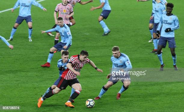 Lynden Gooch of Sunderland is brought down for a penalty during the Premier League International Cup match between Sunderland U23 and Newcastle...