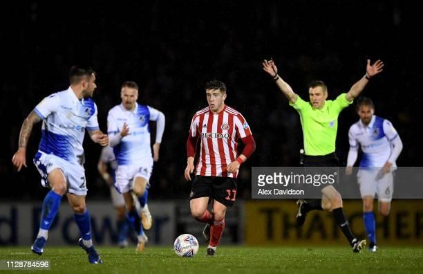 Lynden Gooch of Sunderland makes a break during the Checkatrade Trophy Semi Final match between Bristol Rovers and Sunderland at Memorial Stadium on...