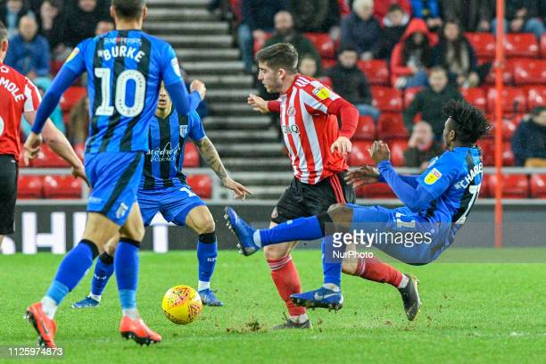 Lynden Gooch of Sunderland shakes of the challenge by Regan Charles-Cook of Gillingham during the Sky Bet League 1 match between Sunderland and...