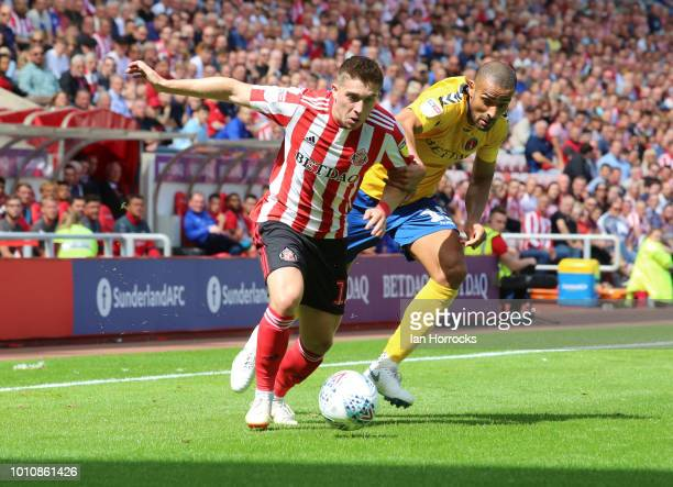Lynden Gooch of Sunderland takes on Darren Pratley of Charlton during the Sky Bet League One match between Sunderland and Charlton Athletic at...
