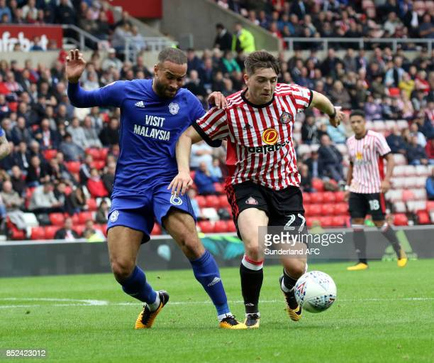 Lynden Gooch of Sunderland takes on Jazz Richards of Cardiff during the Sky Bet Championship match between Sunderland and Cardiff City at Stadium of...