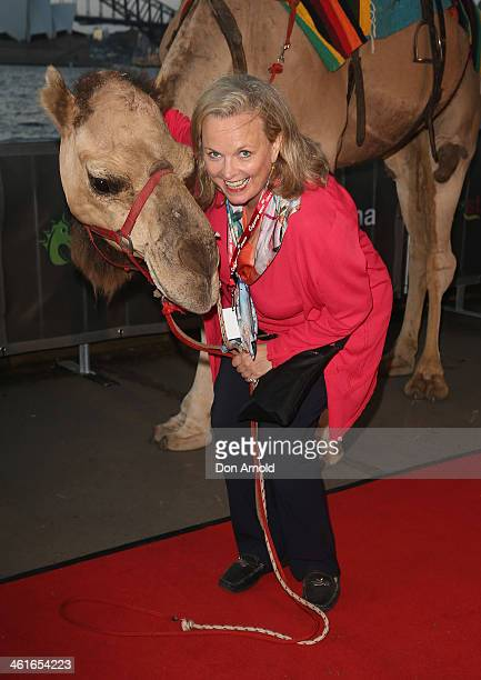 Lyndey Milan poses at the St George Openair Cinema Tracks premiere on January 10 2014 in Sydney Australia