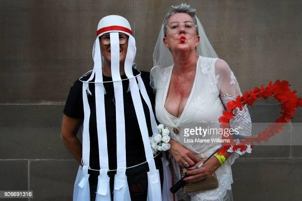 Lyndi Hill and partner Skinny celebrate during the 2018 Sydney Gay Lesbian Mardi Gras Parade on March 3 2018 in Sydney Australia The Sydney Mardi...