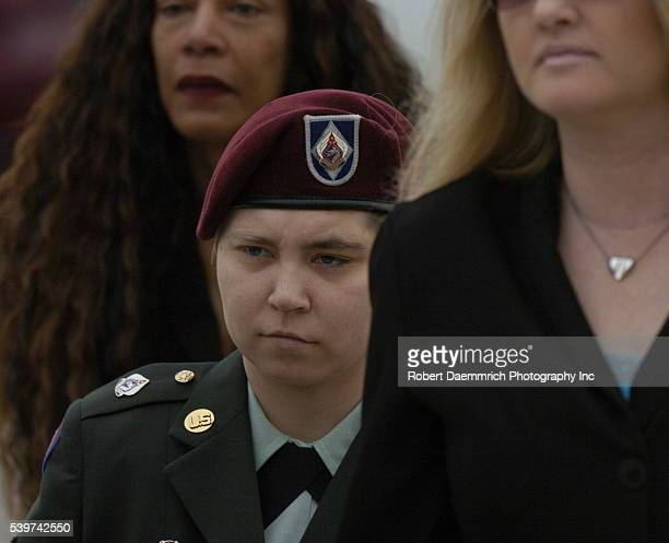 PFC Lyndie R England arrives at the military courhouse at Fort Hood Texas Monday morning with her attorneys for the first day of her trial in the Abu...