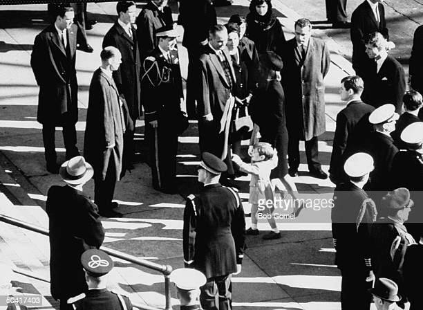 Lyndon B Johnson and Mrs John F Kennedy with son John F Kennedy Jr at John F Kennedy's funeral