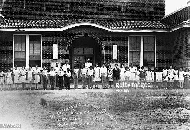 Lyndon B Johnson with the 6th and 7th grade students in the class he taught in 1928 and 1929 Cotulla Texas