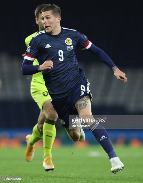 Lyndon Dykes of Scotland is seen in action during the UEFA Nations League group stage match between Scotland and Czech Republic at Hampden Park on...