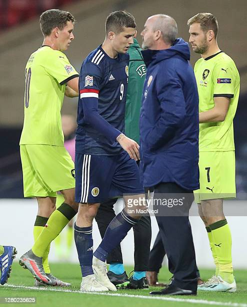 Lyndon Dykes of Scotland leaves the field during the UEFA Nations League group stage match between Scotland and Czech Republic at Hampden Park on...