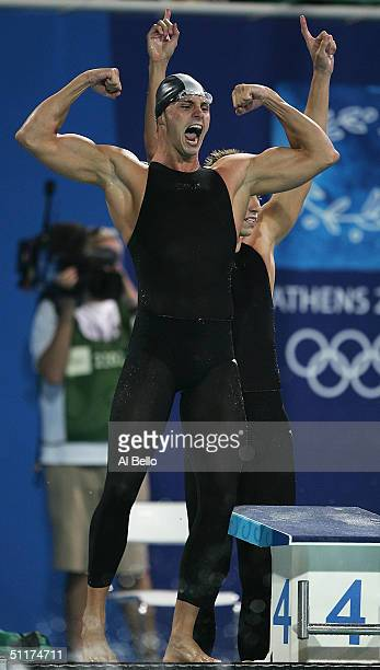 Lyndon Ferns of South Africa celebrates after his team won the men's swimming 4 x 100 metre freestyle relay final on August 15, 2004 during the...