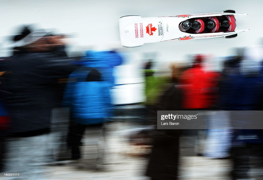 Lyndon Rush, Jesse Lumsden, Lascelles Brown and Neville Wright of Canada compete during the Four Men Bobsleigh heat two of the IBSF Bob & Skeleton World Championship at Olympia Bob Run on February 2, 2013 in St Moritz, Switzerland.