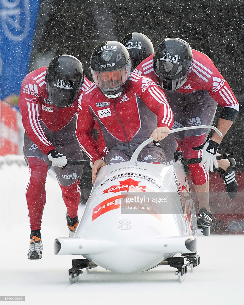 Lyndon Rush, Lascelles Brown, Jesse Lumsden, and Neville Wright of Canada 1 compete in the four-man bobsleigh on day 2 of the IBSF 2012 Bobsleigh and Skeleton World Cup on November 24, 2012 at the Whistler Sliding Centre in Whistler, British Columbia, Canada.