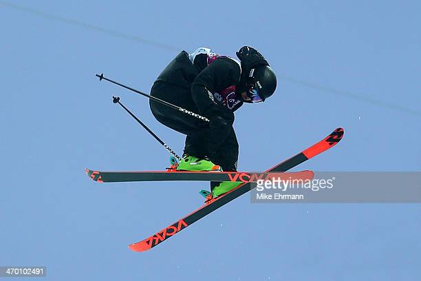 Lyndon Sheehan of New Zealand competes in the Freestyle Skiing Men's Ski Halfpipe Qualification on day eleven of the 2014 2014 Winter Olympics at...