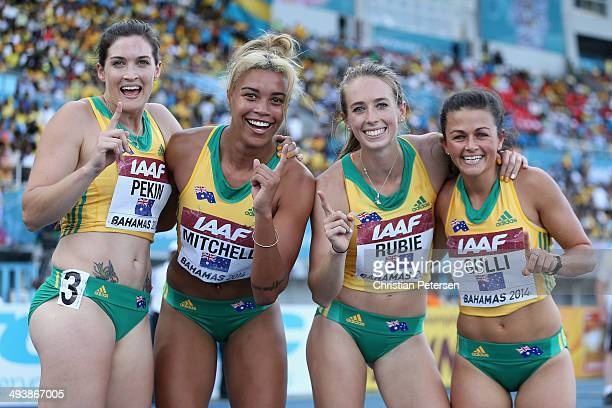 Lyndsay Pekin Morgan Mitchell Anneliese Rubie and Jessica Gulli of Australia pose together after winning the Women's 4x400 metres relay B final...