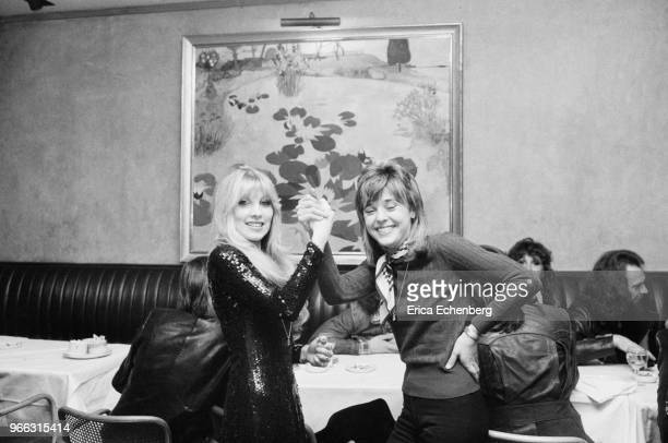 Lyndsey De Paul and Suzi Quatro at an after show party at Burke's Restaurant in Mayfair London 1974