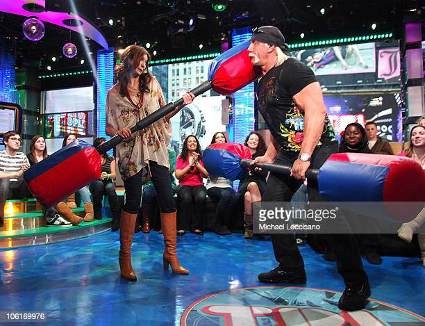 Lyndsey Rodrigues and TV personality Hulk Hogan during MTV's TRL at MTV Studios in Times Square on January 7 2008 in New York City