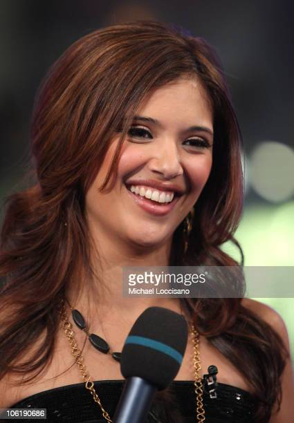 Lyndsey Rodrigues appears on MTV's TRL at MTV Studios on December 10 2007 in New York City