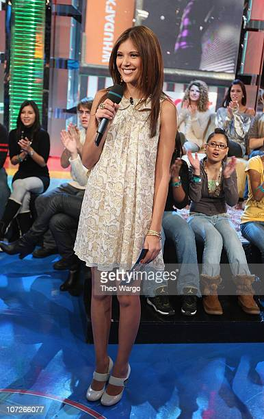 Lyndsey Rodrigues hosts MTV's TRL in New York City on December 17 2007
