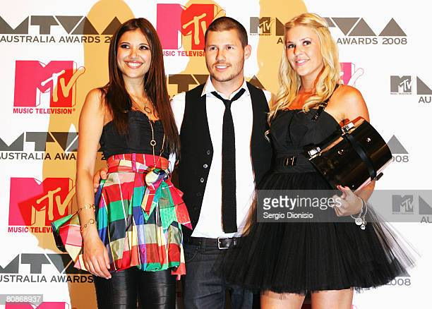 Lyndsey Rodrigues Jason Dundas and Jamie Wright pose backstage in the Awards Room at the MTV Australia Awards 2008 at the Australian Technology Park...