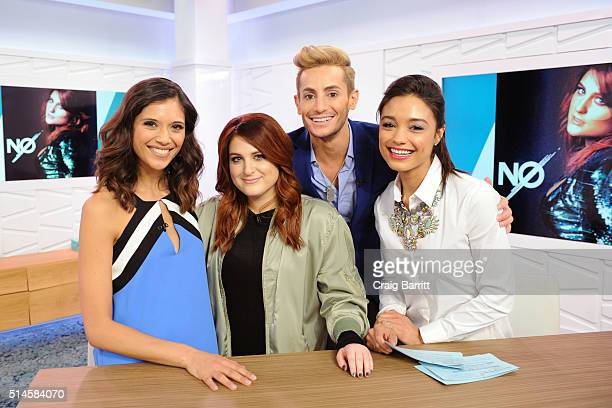 Lyndsey Rodrigues Meghan Trainor Frankie Grande and Rachel Smith on set at Amazon's Style Code Live on March 9 2016 in New York City
