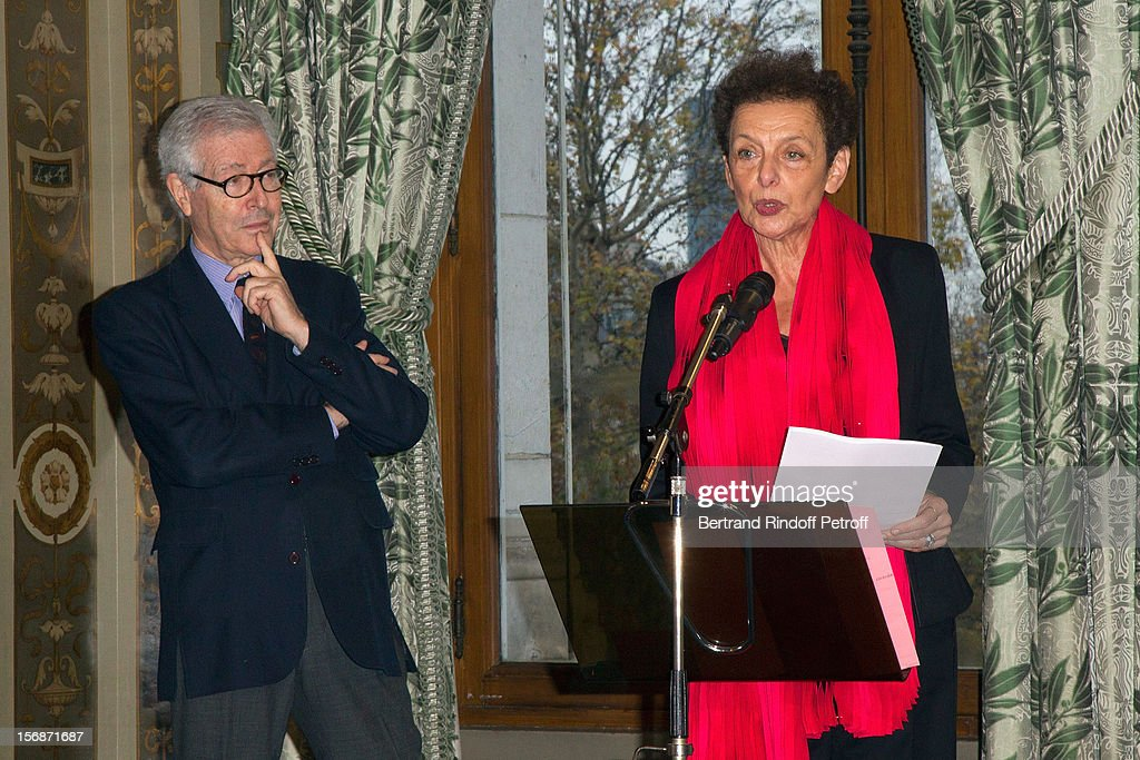 Lyne Cohen-Solal, deputy mayor in charge of Trade, Crafts, Self-employed and Arts professions (R), delivers a speech as Didier Grumbach, President of the Federation Francaise de la Couture, du Pret-a-Porter, des Couturiers et des Createurs de Mode (French Federation of Couture, Ready-to-Wear and Fashion Designers) at the Paris City Hall during the Sainte-Catherine Celebration on November 23, 2012 in Paris, France.