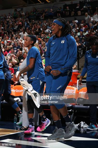 Lynetta Kizer and Danielle Robinson of the Minnesota Lynx of the Minnesota Lynx react on June 16 2018 at Target Center in Minneapolis Minnesota NOTE...