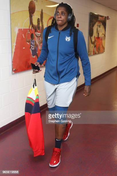 Lynetta Kizer of the Minnesota Lynx arrives at the stadium before the game against the Washington Mystics on May 27 2018 at the Capital One Arena in...