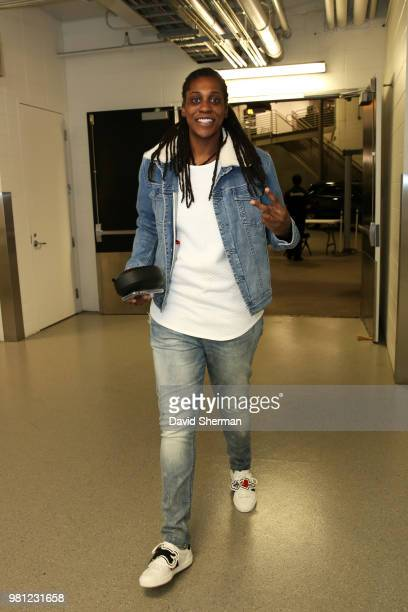 Lynetta Kizer of the Minnesota Lynx arrives at the stadium before the game against the Dallas Wings on June 19 2018 at Target Center in Minneapolis...