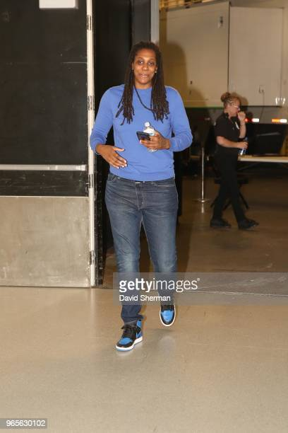 Lynetta Kizer of the Minnesota Lynx arrives to the arena prior to the game against the Phoenix Mercury on June 1 2018 at Target Center in Minneapolis...