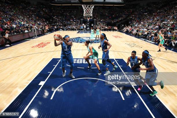 Lynetta Kizer of the Minnesota Lynx handles the ball against the New York Liberty on June 16 2018 at Target Center in Minneapolis Minnesota NOTE TO...