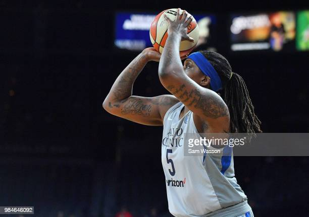 Lynetta Kizer of the Minnesota Lynx shoots against the Las Vegas Aces during their game at the Mandalay Bay Events Center on June 24 2018 in Las...