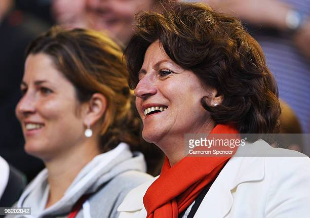 Lynette Federer and Mirka Federer watch the quarterfinal match between Roger Federer of Switzerland and Nikolay Davydenko of Russia during day ten of...