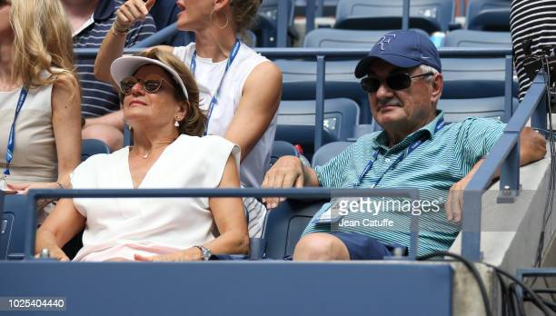 Lynette Federer and Robert Federer parents of Roger Federer of Switzerland attend his match in his player's box during day 4 of the 2018 tennis US...