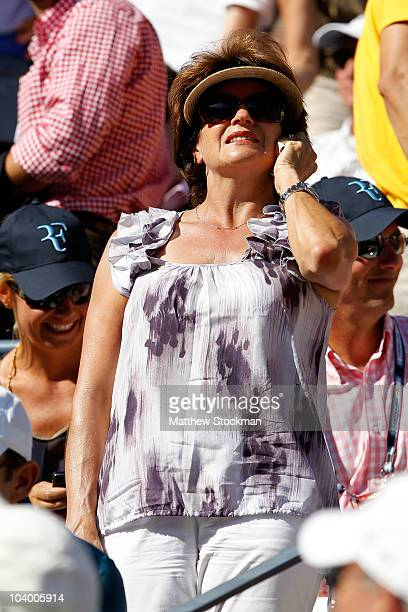Lynette Federer Roger Federer's mother watches the men's singles semifinal match between Roger Federer of Switzerland and Novak Djokovic of Serbia on...