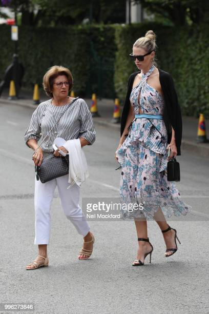 Lynette Federer seen arriving on day nine of the Wimbledon Lawn Tennis Championships at All England Lawn Tennis and Croquet Club on July 11 2018 in...