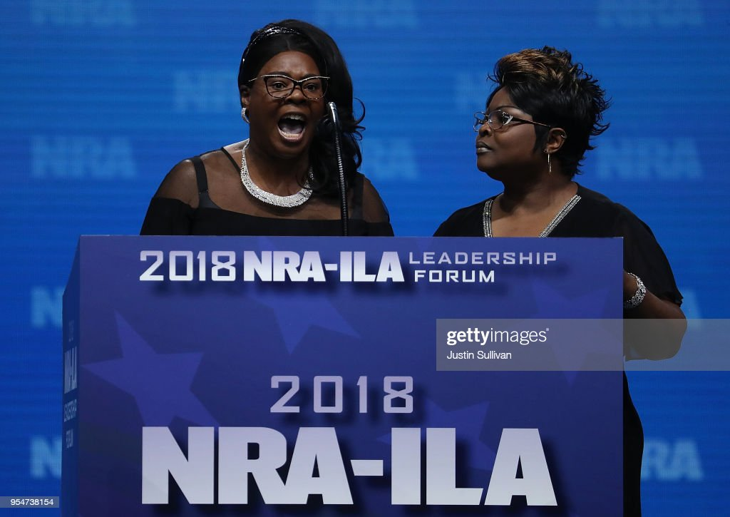 Lynette Hardaway and Rochelle Richardson, also known as Diamond and Silk, speak at the NRA-ILA Leadership Forum during the NRA Annual Meeting & Exhibits at the Kay Bailey Hutchison Convention Center on May 4, 2018 in Dallas, Texas. The National Rifle Association's annual meeting and exhibit runs through Sunday.