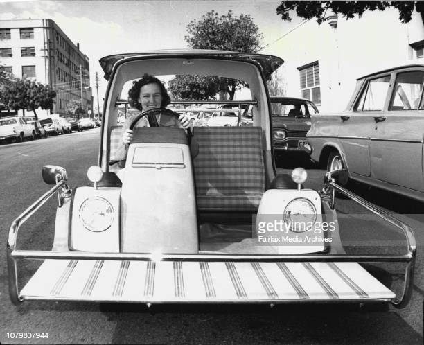 Lynette O'Keefe of Redfern sits in a Toyota Ex2 from York Motors at Roseberry August 21 1975