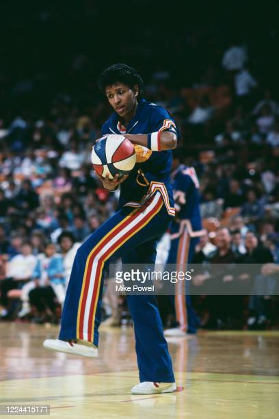Lynette Woodard Point Guard for the Harlem Globetrotters exhibition basketball team during a game against the Washington Generals on 11th January...
