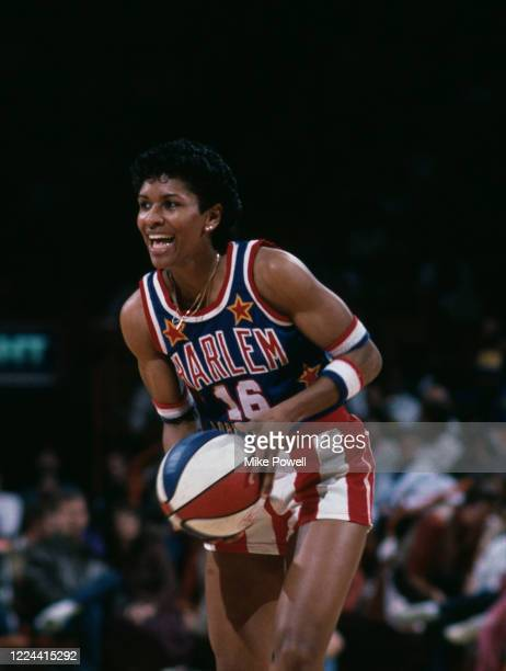 Lynette Woodard, Point Guard for the Harlem Globetrotters exhibition basketball team during a game against the Washington Generals on 11th January...