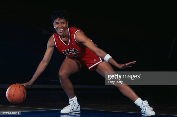 Lynette Woodard Point Guard for the United States women's basketball team during a portrait photo session circa 1990 at the Allen Fieldhouse indoor...