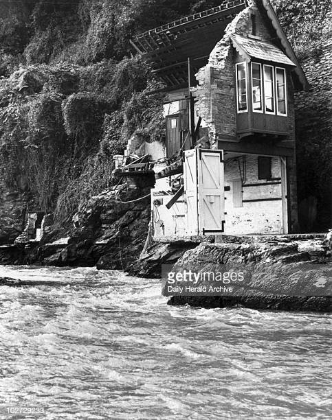 Lynmouth flood disaster 17 August 1952 Part of a house left standing on the edge of the East Lyn River Lynmouth in Devon