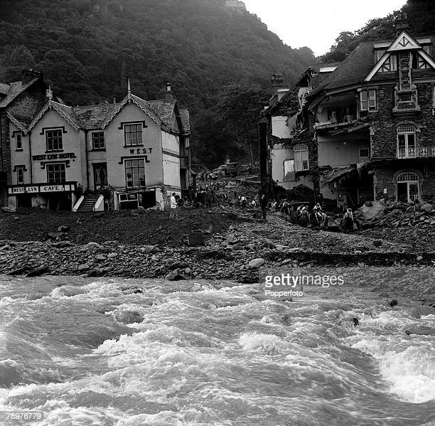 Lynmouth floods Workmen trying to clear the bed where the river once flowed prior to the disaster