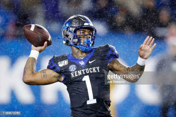 Lynn Bowden Jr. #1 of the Kentucky Wildcats passes the ball against the Missouri Tigers in the second half of the game at Kroger Field on October 26,...