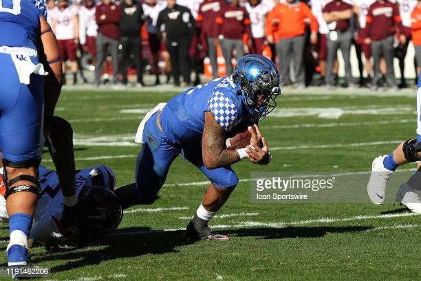 Lynn Bowden Jr of Kentucky during the Belk Bowl college football game between the Virginia Tech Hokies and the Kentucky Wildcats on December 31 at...