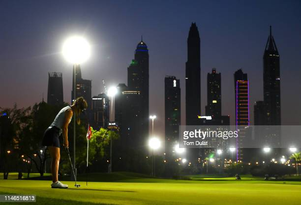 Lynn Carlsson of Sweden makes a putt on the 5th hole during Day Two of the Omega Dubai Moonlight Classic at Emirates Golf Club on May 02 2019 in...